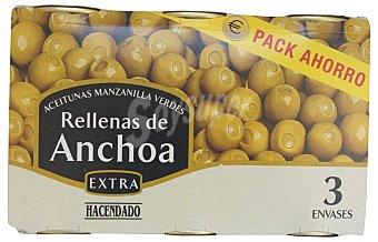 Hacendado Aceituna rellena de anchoa pack 3 latas x 150 g escurrido (450g escurrido)