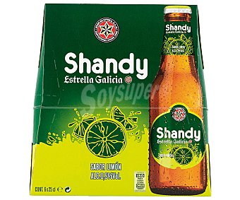 Estrella Galicia Shandy Cerveza sin alcohol sabor limón Pack 6 botella 25 cl