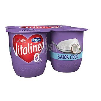 DANONE VITALINEA Yogur desnatado sabor coco pack 4 unidades 125 g