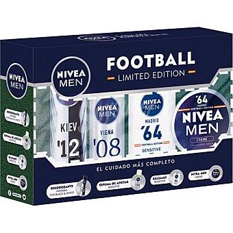 Nivea For Men pack Eurocopa 2016 con espuma de afeitar Sensitive + bálsamo Sensitive + Nivea Creme + desodorante invisible Black & White Edición Limitada