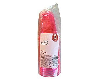 ACTUEL Vasos desechables de plástico color rosa fucsia, 0,25 litros de capacidad 20 unidades