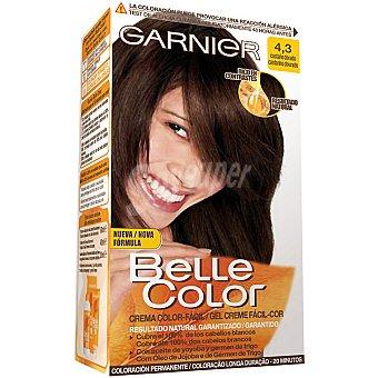 Belle Color Garnier Tinte castaño dorado nº 4.3 con aceite de jojoba y germen de trigo coloración permanente caja 1 unidad Caja 1 unidad