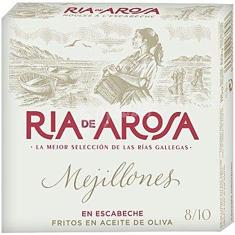 Conservas Ortiz ría de Arosa mejillones en escabeche fritos en aceite de oliva grandes 8-10 piezas Lata 69 g