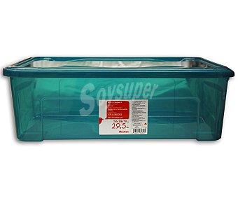 Auchan Caja de ordenación con tapa, capacidad de 29.5 litros y fabricada en plástico azul, 58,2x38x18,8 centímetros 1 Unidad