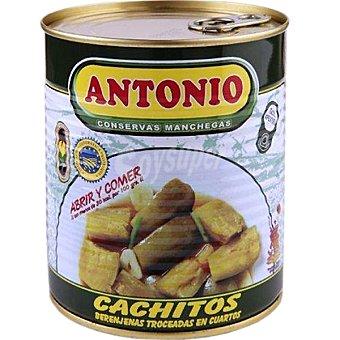 Antonio Cachitos de berenjenas troceadas en cuartos D.O. Almagro Lata 400 g neto escurrido
