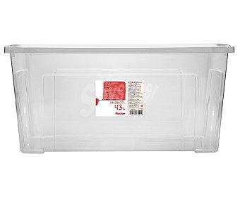 Auchan Caja de ordenación con tapa, capacidad de 43 litros, fabricada en plástico transpartente, 58,2x38x27,8 centímetros 1 Unidad