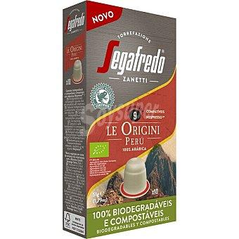 Segafredo Zanetti Le Origini Perú café 100% arábica intensidad ápsulas compostables y compatibles con Máquinas Nespresso 9 estuche 10 c