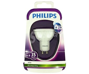 Philips Foco led 4W( equivalencia 35W) , casquillo GU10, Blanca, 230V Forma MR16 No regulable 1u
