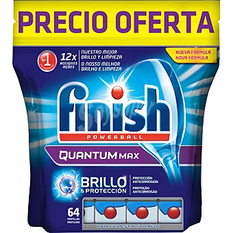 FINISH detergente lavavajillas Power Ball Quantum Max  bolsa 64 unidades