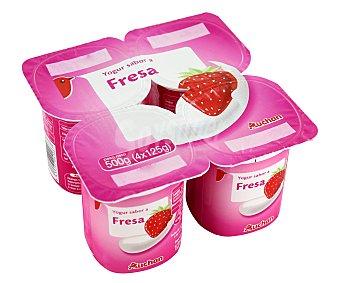 Auchan Yogur con sabor a fresa Pack de 4 unidades de 125 gramos