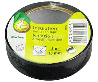 Productos Económicos Alcampo Rollo de 5 metros x 15mm de cinta aislante adhesiva, color negro alcampo