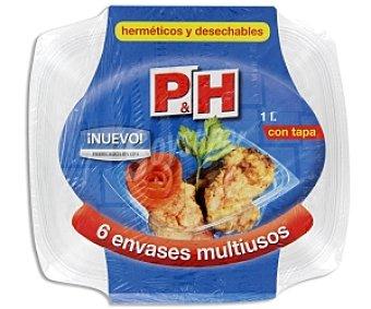 P & H Envases multiusos herméticos y desechables, con tapa 100cc 6 unidades