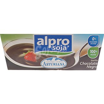 Central Lechera Asturiana Alpro natillas sabor chocolate negro 100% vegetal soja pack 4 unidades 125 g Pack 4 unidades 125 g