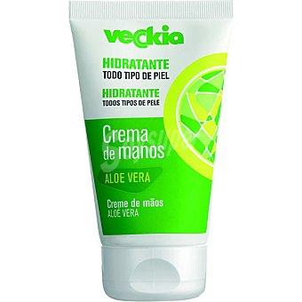 Veckia Crema de manos hidratante con aloe vera para todo tipo de piel Tubo 125 ml
