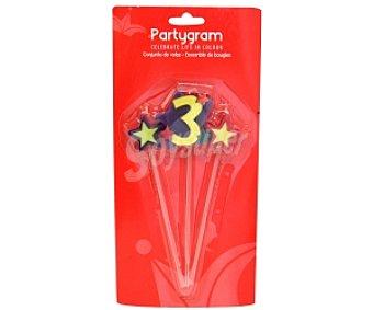 PARTYGRAM Velas (2 estrellas y número 3) Pack de tres