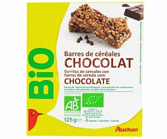 Auchan Barritas cereales chocolate, biológicas 125 Gramos