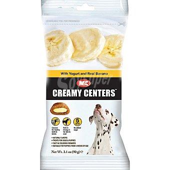 CREAMY CENTERS Snacks para perros grandes y cachorros con yogur y plátano Envase 90 g