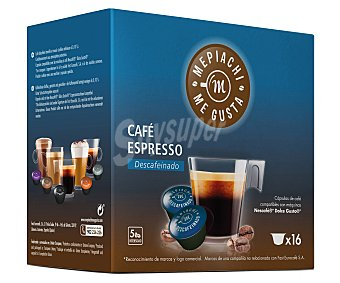 MEPIACH Café espresso de tueste natural descafeinado en monodosis 16 unidades