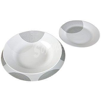 QUO Spring Moment Vajilla de porcelana 18 piezas decorada en color negro y gris para 6 servicios