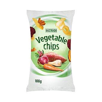 Hacendado Aperitivo chips de vegetales fritos (zanahoria, chirivia, boniato y remolacha) Paquete 100 g