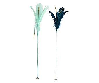 Actuel Pack de 2 plumas decorativas en tonos azules de 44 centímetros, actuel. Pack de 2