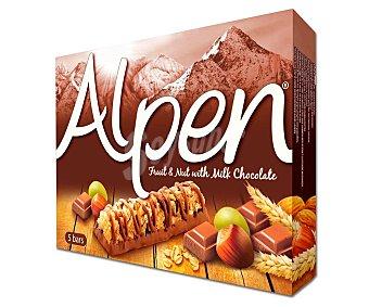 Alpen Cereales en barritas con chocolate y frutos secos Pack de 5 uds