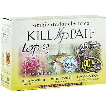 Kill-Paff Ambientador eléctrico Top 3 Rose Garden + Eden Fruit + lavanda recambio 3 unidades 3 unidades