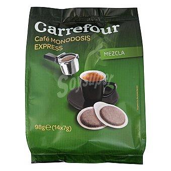 Carrefour Café molido mezcla en monodosis para cafeteras express 98 g