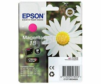 Epson Cartucho de impresora Magenta Nº 18 Margarita Compatible con impresoras: XP-30 /XP-102 / XP-202 / XP-205 / XP-212 / XP215 / XP 302 / XP-305 / XP-312 / XP-315 / XP-402 / XP.405 /XP-412 / XP-415