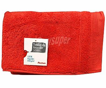 AUCHAN Toalla 100% algodón lisa para tocador, color naranja, 30x50 centímetros 1 Unidad