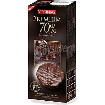 Virginias Premium 70% cacao intenso con corazon de galleta paquete 120 g Paquete 120 g