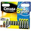 Pila alcalina LR03 Pack 8+4 unid Cegasa