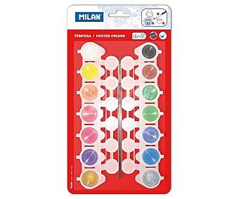 Milan Caja de 14 témperas de 5 mililitros, lavables y de diferentes colores y 5 mililitros