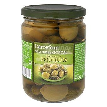 Carrefour Aceitunas rellenas con pepinillos Gordal 220 g