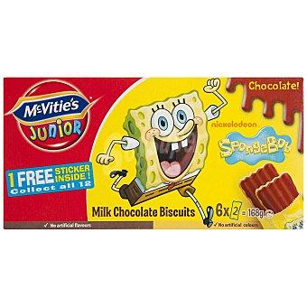 McVities Galletas con chocolate Bob Esponja 6 paquetes de 2 unidades (168 g)