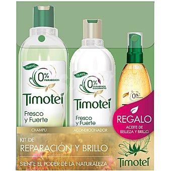 Timotei kit de Reparación y Brillo con champú Fresco y Fuerte frasco 400 ml + acondicionador frasco 300 ml + aceite de belleza de regalo Frasco 400 ml