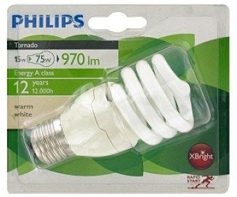 Philips Bombilla espiral bajo consumo Tornado, 827, 15W, blanca cálida, 12 años vida útil, E27 1 Unidad