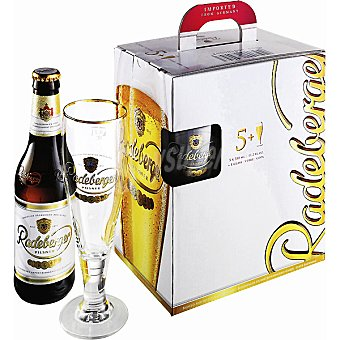 Radeberger Cerveza rubia alemana pack 5 botellas 33 cl con regalo de un vaso Pack 5 botellas 33 cl