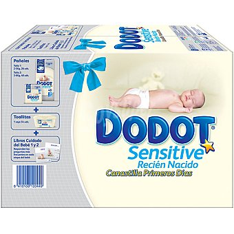 Dodot kit recién nacido Dodot Sensitive 26 pañales de talla 1 (de 2 a 6 kg), 48 pañales de talla 2, 54 toallitas y libros del cuidado del bebe 1 y 2 76 u + 54 toallitas