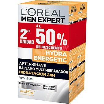 L'OREAL MEN EXPERT HYDRA ENERGETIC After shave bálsamo multi-reparador hidratación 24h pack 2 frasco 100 ml (pack precio especial 2ª unidad al 50%) Pack 2 frasco 100 ml