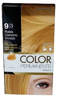 Deliplus Tinte coloracion permanente Nº 9,3 rubio clarisimo dorado (contiene colageno para hidratar) u