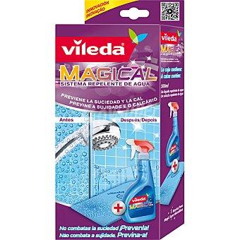 VILEDA Magical Sistema repelente de agua que previene la suciedad y la cal contiene bayeta microfibras Magic + solución repelente al agua caja 1 unidad +  pistola 300 ml