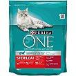 Pienso para gatos adultos esterilizados Bifensis buey y trigo Bolsa 800 g Purina One
