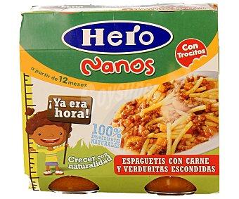 Hero Baby Tarritos de espaguetis con carne y verduras escondidas especial para bebés a partir de 12 meses 2 unidades de 250 gramos