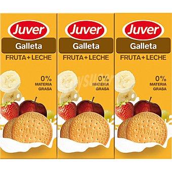 JUVER Galleta Zumo de fruta con leche 0% Materia Grasa Pack 6 envases 200 ml