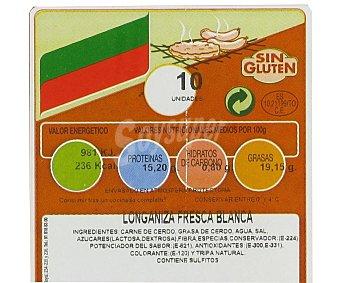 CAMPOGRIL Longaniza blanca fresca elaborado cerdo sin gluten 400 Gramos
