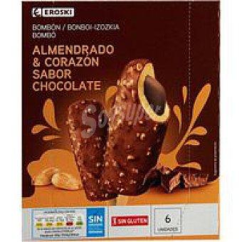 Eroski Bombón almendrado relleno de chocolate Pack 6x75 ml