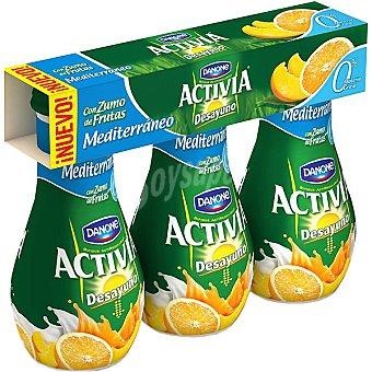 Activia Danone Yogur líquido desnatado 0% Materia Grasa Desayuno Mediterráneo con zumo de frutas Pack 3 unidades 160 g