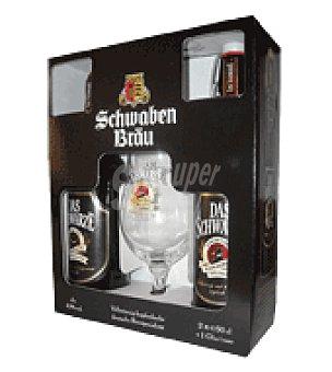 Schwaben Bräu-Das Schwarze Sb das schwarze pack + copa Pack de 2x500 ml