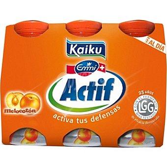 Kaiku Actif Yogur líquido sabor melocotón Pack 6 unidades 65 ml